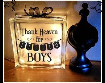 Thank heaven  for little boys, Night light, Baby block, Little boy, boy, new baby gift, glass block, 8 x 8, new baby, nursery gift,