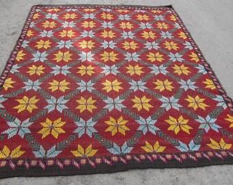 kilim rug free shipping VINTAGE TURKİSH antalya cecim kilim Anatolian  kilim rug decorative kilim - SİZE : 82'' X 112'' ( 205 cm X 280 cm)