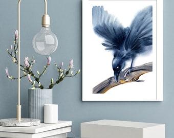 Raven art ORIGINAL Watercolor Painting Black Bird Artwork Watercolour art illustration  Crow Wall art decor gift Raven
