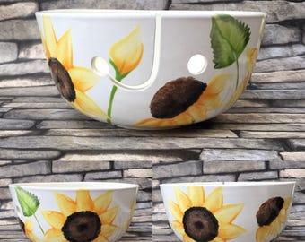 Yarn bowl, sunflower, knitting, crochet, knit, , hand painted, yarn, wool bowl, crochet bowl, knitting bowl