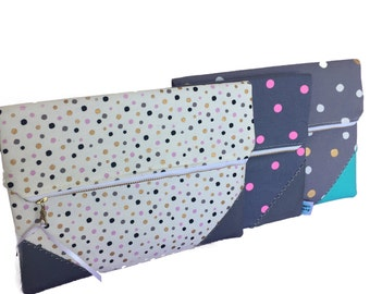 Spots clutch set, Gold spots on grey, pink and black spots, bright pink spots, wedding clutches, bridesmaid wedding purse set, clutch set