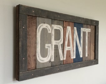 Baby boy name sign Custom rustic nursery sign. Rustic farmhouse name sign Crib sign Last name Baby name. Reclaimed letters