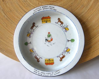 Charming Victorian child's china bowl with poem and painted figures