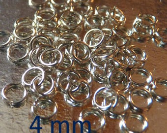 SET of 50 4 mm silver jump rings