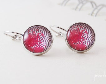 Earrings with print Japanese waves and pink ink stain