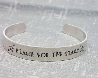 Reach For The Stars - Cuff Bracelet - Inspirational Quote Cuff