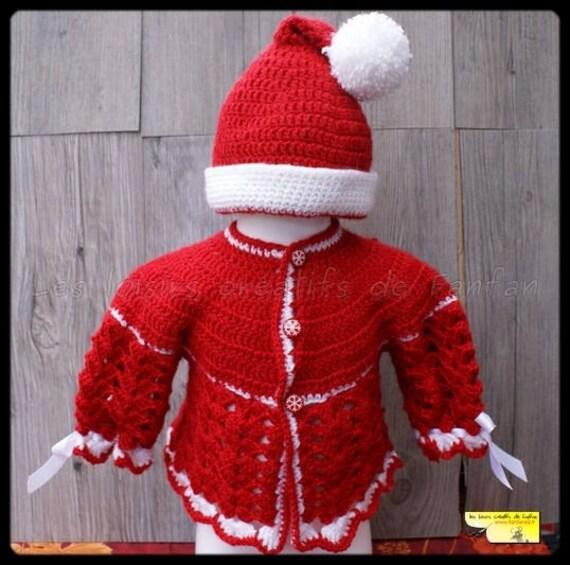 brassi re et bonnet du p re no l rouge et blanc au crochet. Black Bedroom Furniture Sets. Home Design Ideas