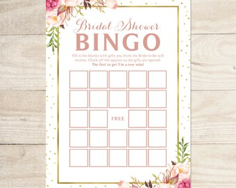 Bridal Shower Bingo Game | 5 x 7 Game Cards | Romantic Blooms with Gold Foil Accents | PDF and JPG Files | Instant Download