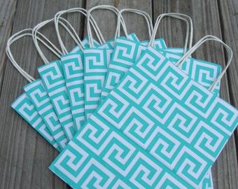 "Greek Key Gift Bags/Turquoise 20 Pack/8""x4""x10"""