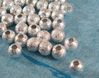 50 Silver Stardust Beads 4mm Round Brass 1mm hole - 50 pc - M7055-S50
