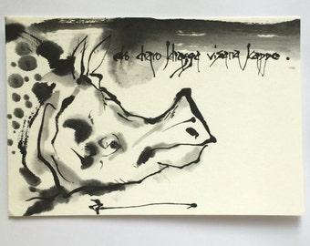 Ink painting, Ink drawing, ink art painting, animal painting, Japanese art, mini art, mini painting, Rhinoceros, Rhinoceros art, animal art