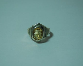 Faceted Citrine sterling silver ring size 6