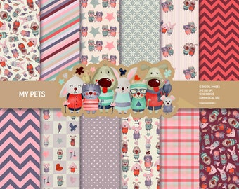 My pets digital paper pack, dog scrapbook pages, patterns, puppy animals dogs cats bunnies mouse background instant download, Commercial use