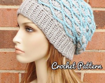 CROCHET HAT PATTERN Instant Pdf Download - Arden Slouchy Beanie Lattice Slouch Hat Fall Winter Accessories- Permission to Sell English Only