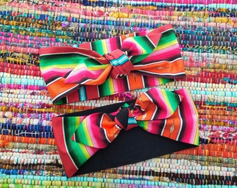 Melon Serape Hair Wrap ( zarape / sarape / headband / hair wrap / bandana )
