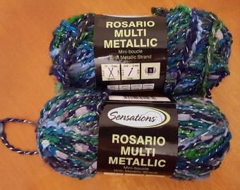 Green Blue Boucle Novelty Yarn - 2 Skeins
