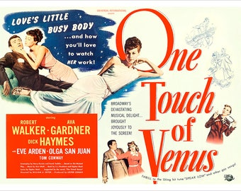 "One Touch of Venus - 21""x28"" - Romantic Comedy Movie Poster Print - Home Theater Decor - Eva Gardner - Robert Walker - Eve Arden"