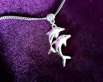 Dolphin Pendant & Earrings Jewellery Set - Dolphin Animal totem spirit animal creature of the ocean gothic pendant