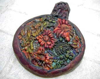 Artisan Rust Patina Floral Pendant Hand Colored
