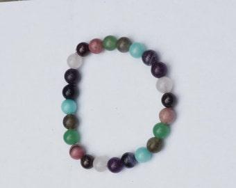 Healing Crystal Bracelet for Confidence with Rhodonite, Green Aventurine, Labradorite, Fluorite, Amazonite & Garnet/ Reiki Gemstone Jewelry