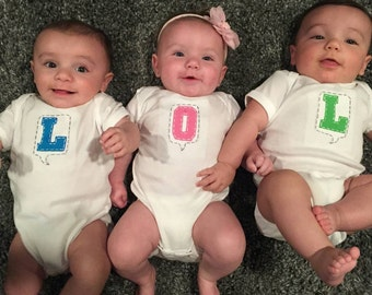 LOL  Set of 3 onesies/bodysuits made for triplets, great shower gift for triplets