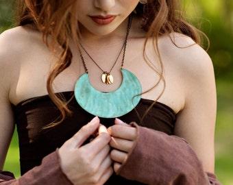 """Verdigris 4"""" Crescent Necklace"""
