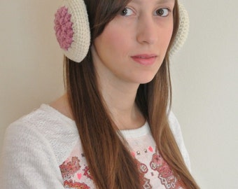 Crochet earmuffs with granny flower motif, Crochet ear muffs for women