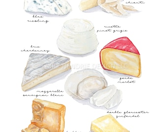 Cheese Pairings watercolor kitchen art / Wine and Cheese Art / Watercolor / Wine Lovers Gift / Recipe Art / gift for her