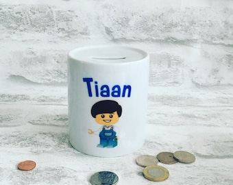 Personalised money box, kids money box, childrens money box