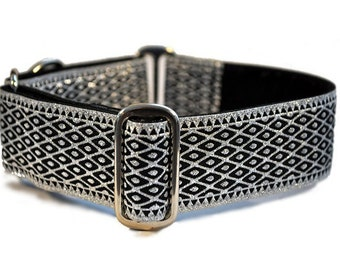Martingale Dog Collar or Buckle Dog Collar - Custom Dog Collar - Wide Martingale Collar -   Lattice Jacquard in Silver - 1.5 Inch