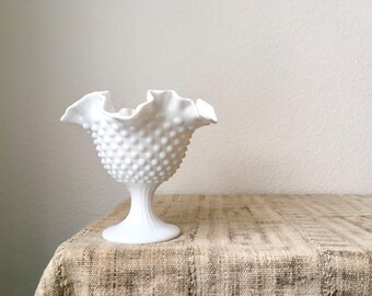 Vintage Milk Glass Hobnail Ruffled Edge Vase