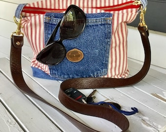 Red and cream ticking stripe purse with upcycled denim accents.