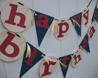 Baseball Party Happy Birthday Baseball Party Banner - Red Navy and Ivory Baseballs