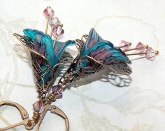 Teal & Pink Flower Earrings, Victorian Earrings, Boho Earrings, Drop Earrings, Hand Painted Earrings, Lucite Flower Earrings, Vintage Style