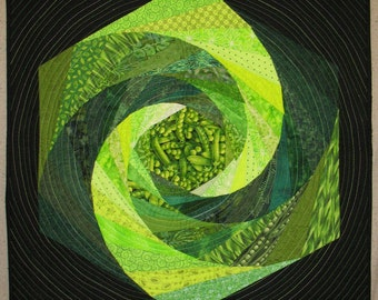 Green Wall Hanging / Art Quilt - 'Imagine Whirled Peas'