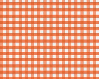 Orange Gingham Fabric by Riley Blake. Medium (1/4 inch). Perfect for baby, nursery  and  quilts.  100% cotton c450-21