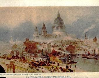 vintage 1840 LONDON print of St Paul's Cathedral Blackfriars Bridge mid century illustration