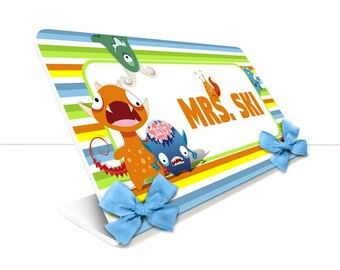 personalized teacher desk name plate stripes and little monsters theme classroom - SEC38