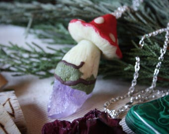 Glow in the dark Mushroom and Amethyst Pendant Necklace
