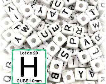 "20 beads 10 mm - 10mm cube letter beads alphabet ""H"""