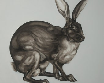 Hare Waiting Animal Art Print