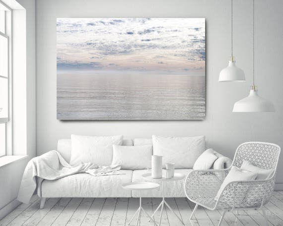 """Silver Ocean 11. Extra Large Water Canvas Art Prints up to 72"""", Seascape Blue Pink Water Photography Print by Irena Orlov"""