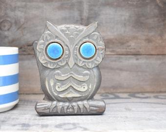 Owl Napkin Holder, Cast Iron Owl, Owl Letter Holder, Owl Mail Holder, Black Owl, Owl Desk Accessory, Owl Decor, Blue Eyes, Made in Taiwan
