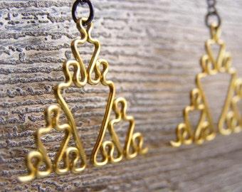 Fractal Earrings - Sierpinski Triangles in Yellow / Gold