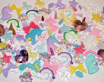 CandyCabsUK Rainbows & Unicorns Mixed Decoden Craft Kit Bows Stars Horns Hearts Clay Resin Flatback Kit 20pcs