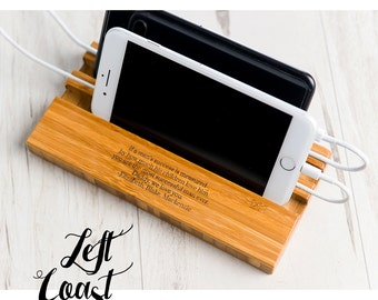 Fathers Day Gift Him Phone Stand Dock    Personalized Man Charging Station Wood Techie Quote iPhone Android Double Slot