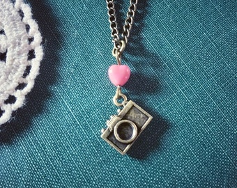 Brass Camera Necklace Photographer Necklace Heart Jewelry Heart Necklace