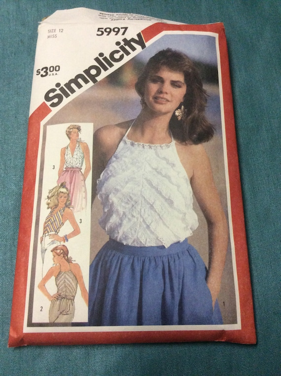 Vintage Simplicity 5997 sewing pattern, vintage from 1983 pattern, uncut vintage pattern, vintage halter top pattern, 1980's clothing design