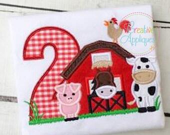 Barn 2 Birthday Farm Animal Digital Machine Embroidery Applique Design 4 size barn applique, barn farm animals applique, second 2nd birthday