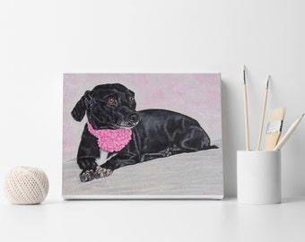 Custom dog portrait from your photo Oil painting on stretched canvas Pet painting Handmade art Personalized gift Christmas gift